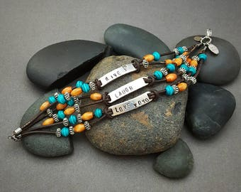 Live Laugh Love Handstamped Leather and Wood Bead Bohemian Bracelet Made to Order