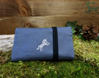 Pouch/tobacco grey & Black with embroidered Unicorn