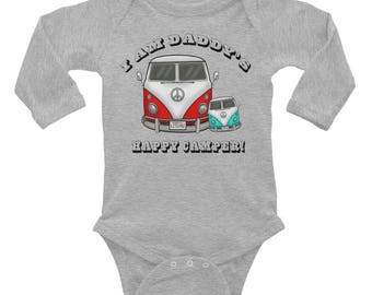 Daddy Baby Onesie - VW Camper Van Infant Long Sleeve Bodysuit - Red VW Bus - Gift for Baby and Daddy - Car Baby Boy Outfit - Gift Baby Boy