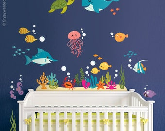 Under The Sea Wall Decal, Fishes Wall Decal, Ocean Wall Sticker, Underwater  Sea Part 64