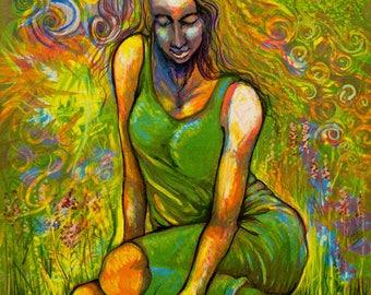 Green Woman print