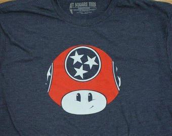 "T-square Tees - ""TN Shroom"" Silkscreened T-shirt (Nintendo Super Mario Bros. Power-Up Mushroom Parody Nashville, Tennessee Flag) unisex fit"
