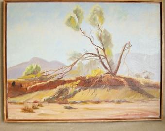 Vintage Landscape Painting, Mid-Century, California Impressionism, Signed W. Edwards, Desert, Original Fine Art, Framed, Nature,Hand Painted