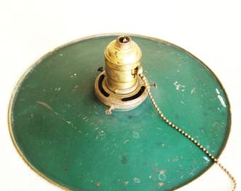 Antique Industrial Green Metal Pendent Lamp, Hanging Ceiling Fixtures, Vintage Shades, Rustic Cabin Decor, Desk Lamp, Primitive Lighting