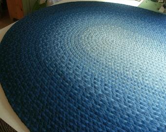 indigo blue ombre cotton braided rug