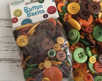 """Autumn Buttons, Fall Shades, Packaged Round Button Assortment, 5 oz bag, """"Fall Festival"""" #BCB128 Buttons Galore, Sewing, Crafting"""