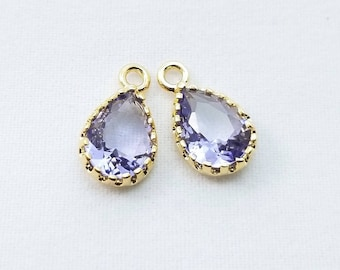2 pc, 12x7mm, Lavender Purple Teardrop Pendant Charm Dangle, Gold Rim - PC-0228