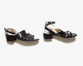 Vintage Leather Sandals 5 / Black Leather Sandals / Strappy Sandals / Minimal Sandals