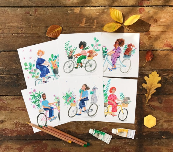 set of 6 square postcards bikes dogs and plants