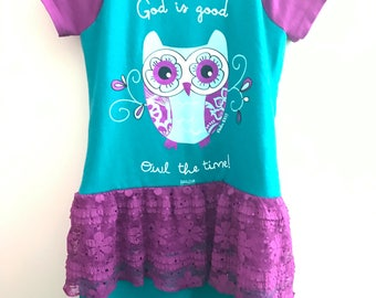 God is Good Owl the Time girls upcycled dress size 6-8