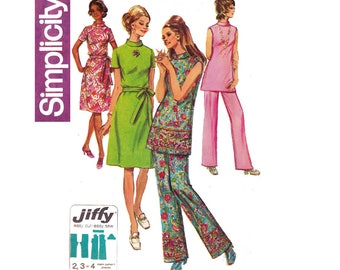 Simplicity 9381 Womens Mod High Neck Dress Tunic Pants 70s Vintage Sewing Pattern Half Size Size 20 1/2 Bust 43 inches
