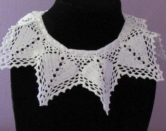 White Collar Star Necklace Filet Crochet Doily