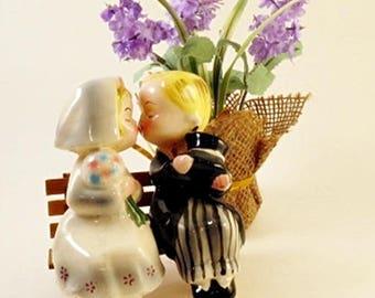 Vintage Bride and Groom Kissing Salt and Pepper Shakers Japan Retro Ceramic