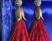 regal tassels - statement earrings rhinestone red fringe bronze tulip bead caps fashion trend jewelry, the french circus
