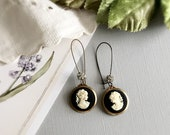 SOLD to J - black cameo earrings - BELLA - rhinestone earrings rhinestone cameos black white cameo jewelry vintage style classic