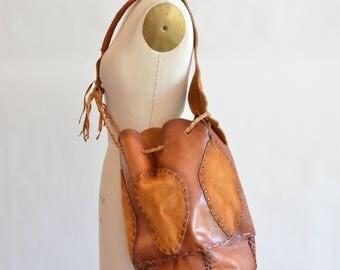 Vintage 1970s huge ARTISAN made leather bucket bag