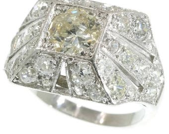 Art Deco diamond dome ring rectangular 18k white gold old European cut diamond 3.92ct rose cut diamonds vintage engagement ring