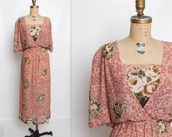 vintage 70s sheer floral dress