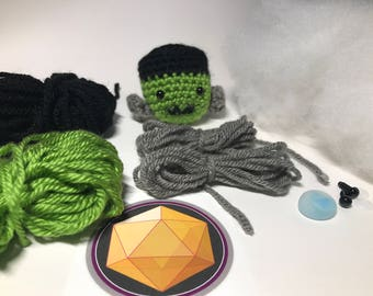 Mini Frankenstein Monster Amigurumi Crochet DIY Kit - Pattern Plus Materials for this Spooky Adorable Haunted Halloween Decoration