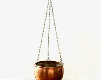 Hanging Copper planter / Copper  hanging round planter on chain