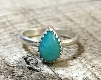 Elegant Teardrop or Pear Shaped Sky Blue Amazonite with Serrated Sterling Silver Ring | Solitaire Ring | Silver Ring | Engagement Ring