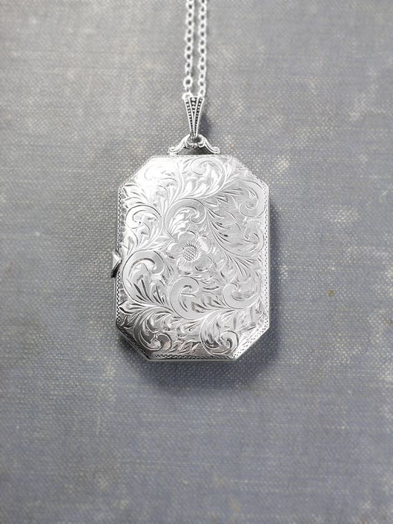 Extra Large Sterling Silver Book Locket Necklace, Rare Vintage Rectangle Shaped Photo Pendant - Photo Cabinet