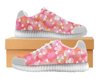 Pink Hearts LED Light Up Shoes | Kids & Womens Sizes | High Stretch Upper | EVA + Mesh Fabric Insole | 7 Colors | Bold Design | Fashion