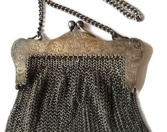 Antique Art Nouveau Mesh Purse - German Silver Chain Purse / Vintage Silver Chain Purse Early 1900's