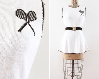 Vintage 1970s Dress - Tennis Dress - Size Small - Mini Dress - Knit Dress - Novelty Print - White - Sleeveless Sporty Scooter Mod Belted