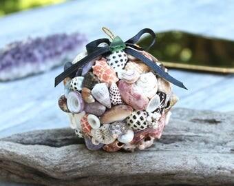 Shell Christmas Ornament - Hawaiian Seashell Decor - Mele Kalikimaka Shell Ornament - Seashell Ornament from Hawaii - Christmas Decor