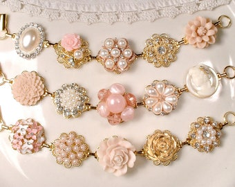 OOAK Gold Blush Pink Champagne Bridal Bridesmaid Bracelet Set 3 4 5 6 7 8 9,Ivory Pearl Rhinestone, Vintage Wedding Earring Bracelets Flower
