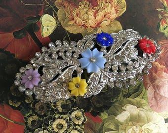 Fruit Salad Rhinestone Brooch – Pot Metal Pin – Art Deco Floral 1920s Jewelry