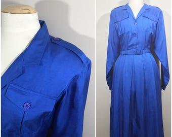 Leslie Fay Blue Shirt Dress // Long Sleeved Vintage Shirt Dress