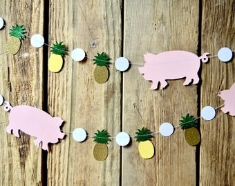 Tropical Pigs and Pineapples Banner - 9 feet long, custom colors available