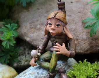 OOAK  art doll garden pixie elf faerie figurine