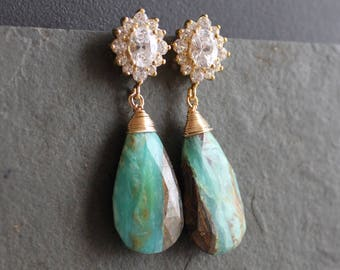 Athena. Peruvian Opal. Cubic Zirconia Earrings. One of a Kind.