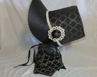 Black and Ivory Stovepipe Bonnet and Reticule- Regency, Georgian, Jane Austen Era Bonnet and Purse