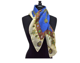 Vintage 1980s Liza Sinclair Signed Scarf Made in Italy Jewel Design High Fashion