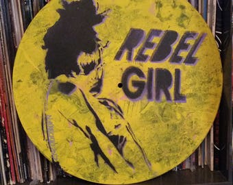 Rebel Girl Kathleen Hanna Bikini Kill band fan art riot grrrl painting vinyl record wall hanger spray paint art