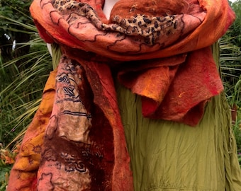 Nuno felted silk & wool shawl collage shawl - orange rust beige red coral brown lagenlook - ready to ship Art to Wear