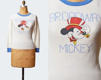 Vintage 70s Broadway Mickey Mouse Shirt Walt Disney Cartoon Tshirt / 1970s T Shirt Thermal Tee Ringer Graphic Long Sleeve Retro Tee Small