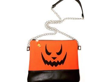 Jackolantern handbag, pumkpin bag, Halloween bag, candy corn handbag
