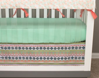 Cactus Baby Bedding Girl, Tribal Crib Bedding Boho Aztec Southwestern, Rail Guards, Watercolor Floral Coral Salmon Purple Mint Gold Navy