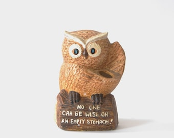 Vintage Owl Sculpture - Vtg Owl Figurine - Owl Shaped Bank - Owl Planter - 1970s Owl Decor - No one can be wise on an empty stomach! - Owls