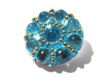 23mm Czech Berry Bubbles Button Aqua VINTAGE Czech Glass Button One Blue Czech Glass Berry Bubble Top Vintage Button Jewelry Supply (Y337)