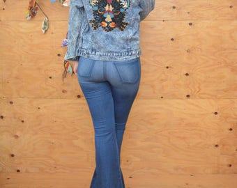 Repurposed Sequin Appliqué Vintage Button Up Acid Wash Denim Jean Coat In Blue, With Elaborate Black Panther Sequin Patch SZ S/M
