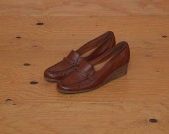 Vintage 70's Slip-on Loafers In Brown, Wedge High Heel Basic Casual & Comfy Size 8