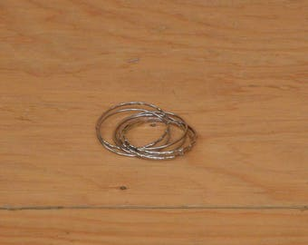 Vintage 70's Silver Tone Bangles All Attached Like An Infinity