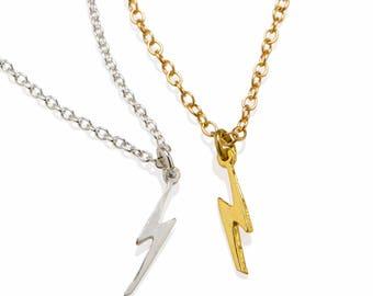 Lightning Bolt Necklace 18K Gold or 925 Sterling Silver