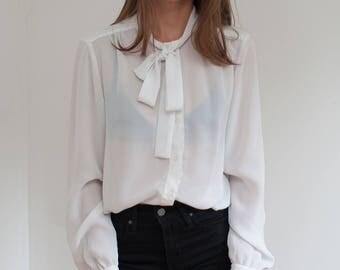 Semi sheer white blouse - pussy bow blouse - gathered cuffs - M